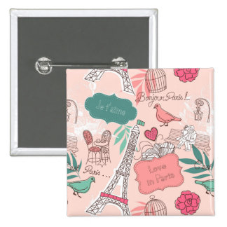 Love in Paris Pattern Pink 2 Inch Square Button