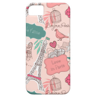 Love in Paris Pattern Pink Case For The iPhone 5