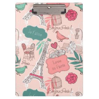 Love in Paris Pattern Pink Clipboard