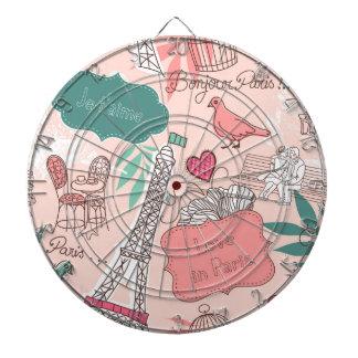 Love in Paris Pattern Pink Dartboard