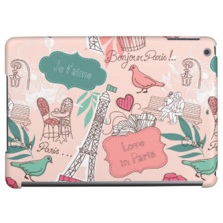 Love in Paris Pattern Pink iPad Air Cases