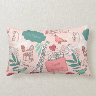 Love in Paris Pattern Pink Lumbar Pillow