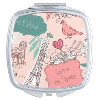 Love in Paris Pattern Pink Makeup Mirrors