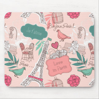 Love in Paris Pattern Pink Mouse Pad