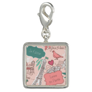 Love in Paris Pattern Pink Photo Charm