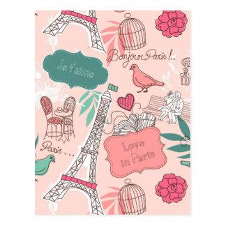 Love in Paris Pattern Pink Postcard