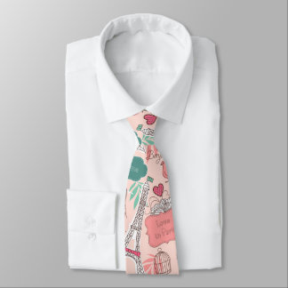 Love in Paris Pattern Pink Tie