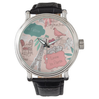 Love in Paris Pattern Pink Wristwatches