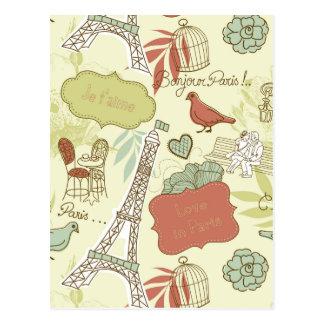 Love in Paris Pattern Postcard