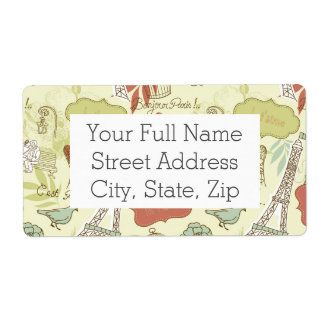 Love in Paris Pattern Shipping Label