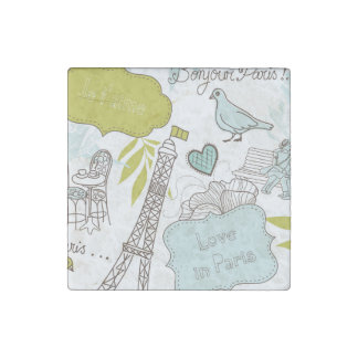 Love in Paris Pattern Stone Magnets