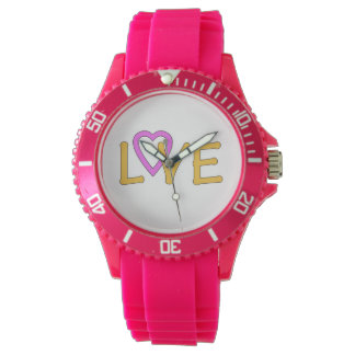 """""""Love"""" in pink and gold on a Pink Watch"""