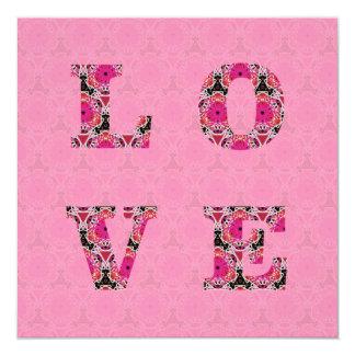 Love in Pink Pattern Wedding Invitations by KCS