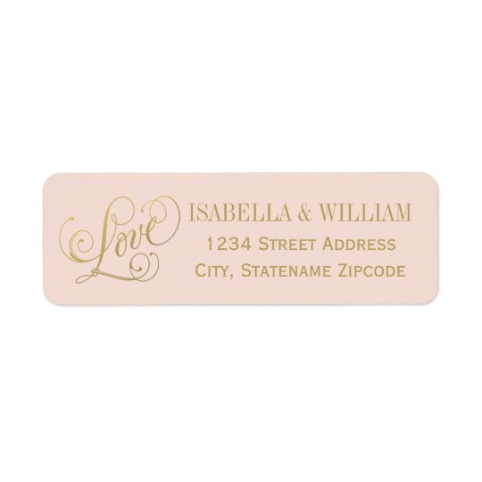 Love in Script Return Address | Blush and Gold