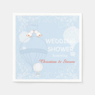Love in the Air Baby Blue Wedding Shower Disposable Napkins