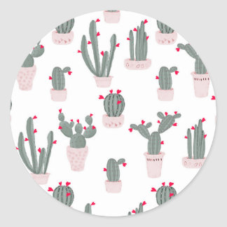 Love in the Desert Cacti Pattern Classic Round Sticker