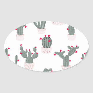 Love in the Desert Cacti Pattern Oval Sticker