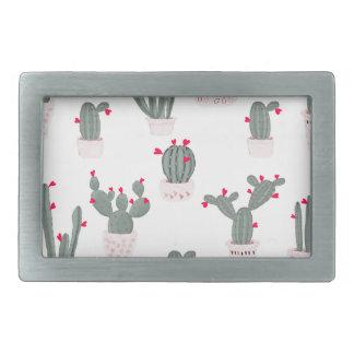 Love in the Desert Cacti Pattern Rectangular Belt Buckle