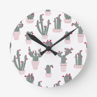 Love in the Desert Cacti Pattern Round Clock