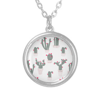 Love in the Desert Cacti Pattern Silver Plated Necklace