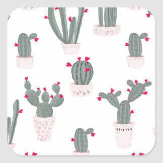 Love in the Desert Cacti Pattern Square Sticker