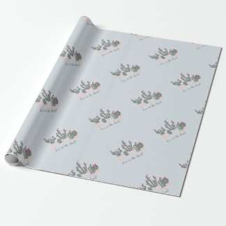 Love in the Desert Cacti Pattern Wrapping Paper