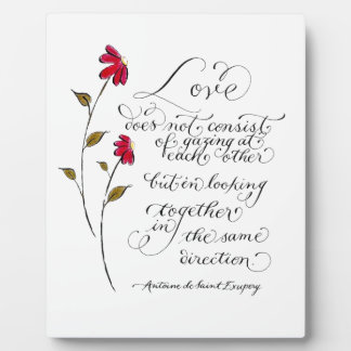 Love in the same direction typography quote photo plaque