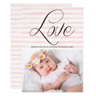 "Love in Watercolor Stripes Valentine's Day Card 5"" X 7"" Invitation Card"