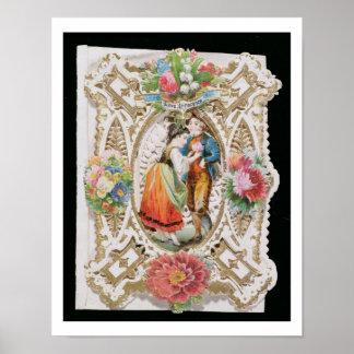 Love, Innocence, Valentine card, c.1870 (colour li Poster