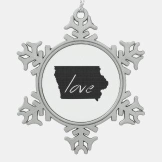 Love Iowa Snowflake Pewter Christmas Ornament