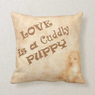 Love is a Cuddly Puppy Throw Pillow