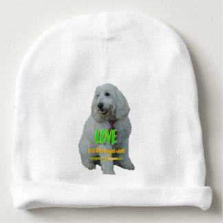 Love is a four legged word baby beanie