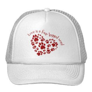 Love is a four legged word mesh hats