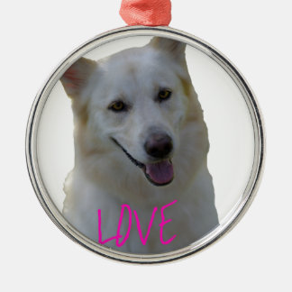 Love is a four legged word metal ornament