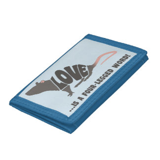 Love is a four-legged word! - rat tri-fold wallet