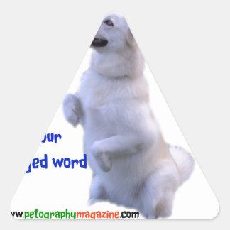 Love is a four legged word triangle sticker