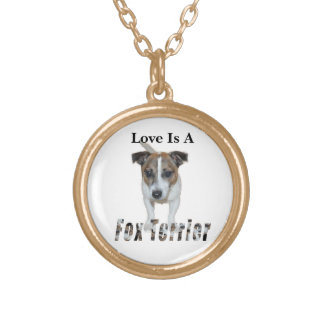 Love Is A Fox Terrier, Golden Gold Plated Necklace