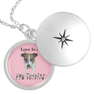 Love Is A Fox Terrier, Pink Silver Plated Necklace