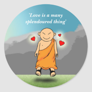 Love is a many splendoured thing round sticker