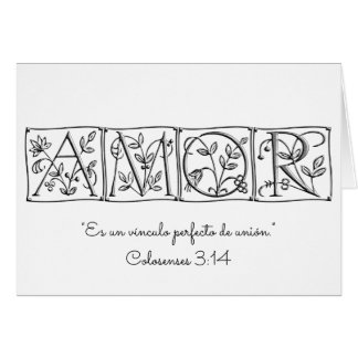 Love is a Perfect Bond of Union~Scripture~Spanish Card