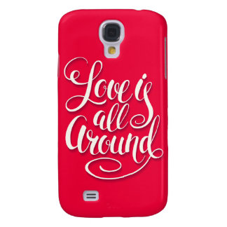 Love Is All Around Script Lettering Pink