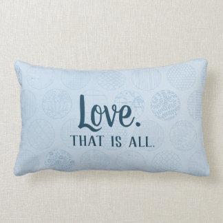 Love is all.  Blue Circles Pattern Lumbar Pillow