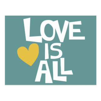 Love Is All words design Postcard