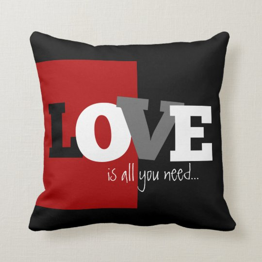 Love is all you need (black, white, grey, crimson) throw pillow