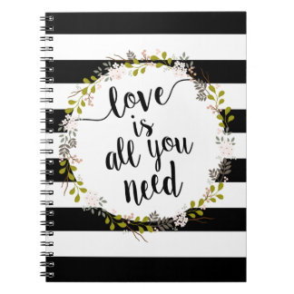 Love is all you need... Garden Floral Wreath Notebooks