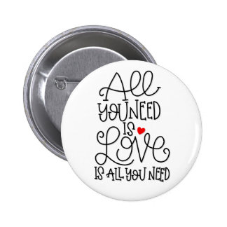 Love Is All You Need   Hand Lettered Button