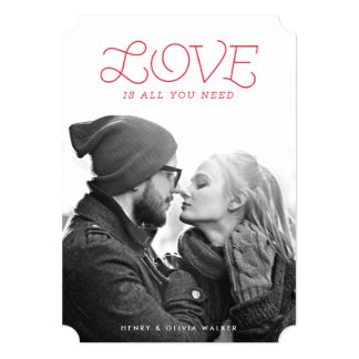 """Love is All You Need Holiday Photo Card 5"""" X 7"""" Invitation Card"""