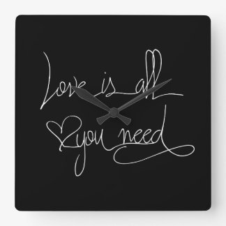 Love is all you need square wall clock