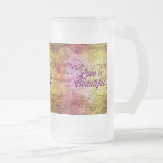 Love is Beautiful Abstract Colorful Heart 16 Oz Frosted Glass Beer Mug