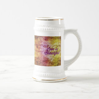 Love is Beautiful Abstract Colorful Heart Beer Steins